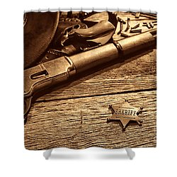 The Badge Shower Curtain by American West Legend By Olivier Le Queinec