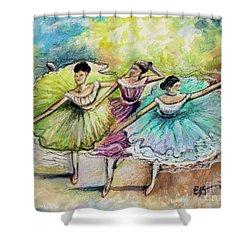 The Ballerina Dancers Shower Curtain by Elizabeth Robinette Tyndall