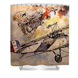 The Balloon Buster Shower Curtain by Marc Stewart