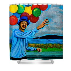 The Balloon Vendor Shower Curtain