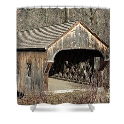 The Baltimore Covered Bridge - Springfield Vermont Usa Shower Curtain by Erin Paul Donovan