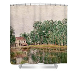 The Banks Of The Canal At Moret Sur Loing Shower Curtain by Alfred Sisley