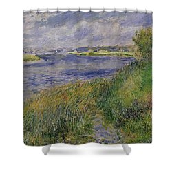 The Banks Of The Seine Champrosay Shower Curtain by Pierre Auguste Renoir