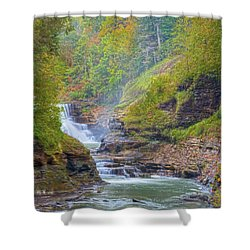 The Bashful Lower Falls Shower Curtain by Angelo Marcialis