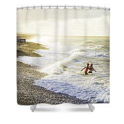 The Bathers Shower Curtain by Russell Styles