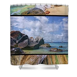 The Baths Virgin Gorda National Park Triptych Shower Curtain by Olga Hamilton