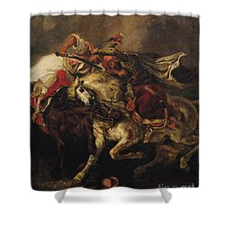The Battle Of Giaour And Hassan Shower Curtain by Ferdinand Victor Eugene Delacroix