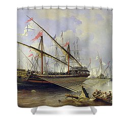 The Battle Of Grengham On 27th July 1720 Shower Curtain by Ferdinand Victor Perrot