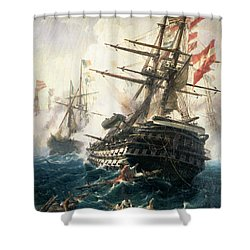 The Battle Of Lissa Shower Curtain by Constantin Volonakis
