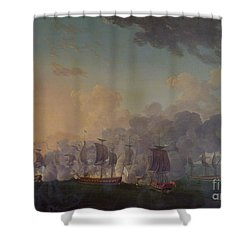 The Battle Of Louisbourg On The 21st July 1781 Shower Curtain by Auguste Rossel De Cercy