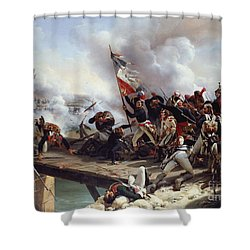 The Battle Of Pont D'arcole Shower Curtain by Emile Jean Horace Vernet