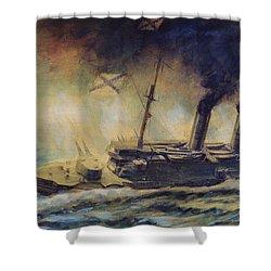 The Battle Of The Gulf Of Riga Shower Curtain by Mikhail Mikhailovich Semyonov