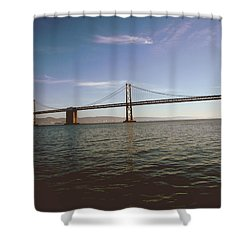 Shower Curtain featuring the mixed media The Bay Bridge- By Linda Woods by Linda Woods