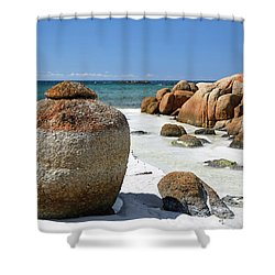 Shower Curtain featuring the photograph The Bay Of Fires by Nicholas Blackwell