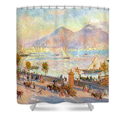 The Bay Of Naples With Vesuvius In The Background Shower Curtain by Pierre Auguste Renoir