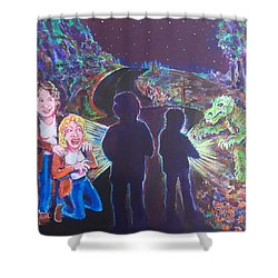 The Bay Road Swamp Monster Shower Curtain