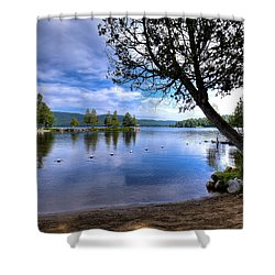 Shower Curtain featuring the photograph The Beach At Covewood Lodge by David Patterson