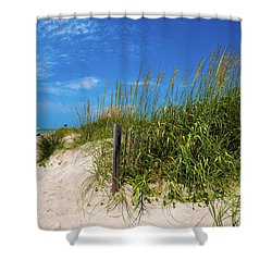 Shower Curtain featuring the photograph The Beach At Pine Knoll Shores by John Harding