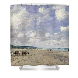 The Beach At Tourgeville Shower Curtain by Eugene Louis Boudin