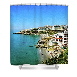 Shower Curtain featuring the photograph The Beach - Nerja Spain by Mary Machare