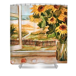The Beach Sunflowers Shower Curtain