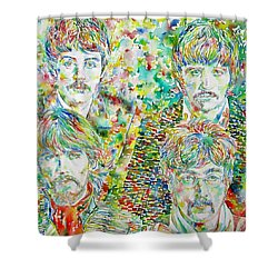The Beatles - Watercolor Portrait.1 Shower Curtain by Fabrizio Cassetta