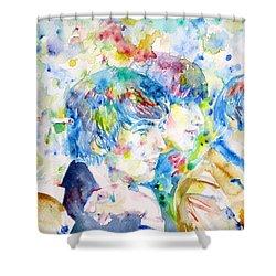 The Beatles   Watercolor Portrait.4 Shower Curtain