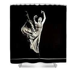 Shower Curtain featuring the photograph The Beautiful Ballerina Dancing In Long Dress by Dimitar Hristov