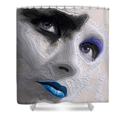 The Beauty Regime Blue Shower Curtain by ISAW Gallery