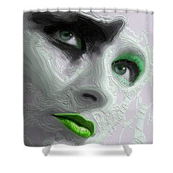 The Beauty Regime Green Shower Curtain by ISAW Gallery