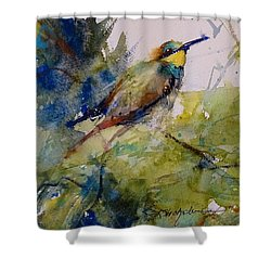 The Bee Eater Shower Curtain by Sandra Strohschein