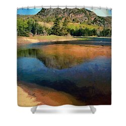 Shower Curtain featuring the painting The Beehive by Jeff Kolker