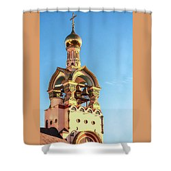 The Bell Tower Of The Temple Of Grand Duke Vladimir Shower Curtain