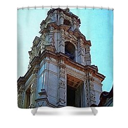 The Bell Tower - Riverside California Shower Curtain