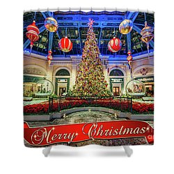 The Bellagio Conservatory Christmas Tree Card 5 By 7 Shower Curtain