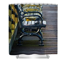 The Bench Shower Curtain by Mary Ward