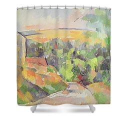 The Bend In The Road Shower Curtain by Paul Cezanne