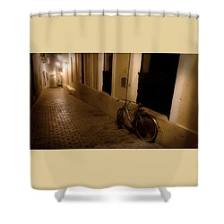 Shower Curtain featuring the photograph The Bicycle And The Brick Road by DigiArt Diaries by Vicky B Fuller
