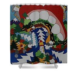 The Big Bite Shower Curtain by Rojax Art