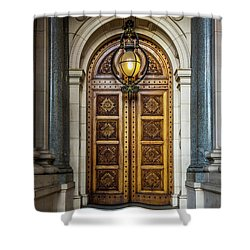 Shower Curtain featuring the photograph The Big Doors by Perry Webster