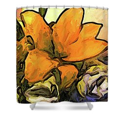 The Big Gold Flower And The White Roses Shower Curtain