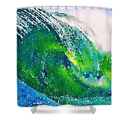 Shower Curtain featuring the painting The Big Green by Angela Treat Lyon