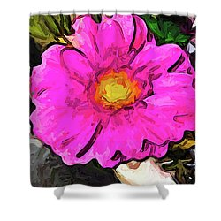 The Big Pink And Yellow Flower In The Little Vase Shower Curtain