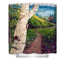 Shower Curtain featuring the painting The Birch by Renate Nadi Wesley