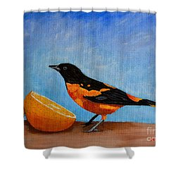The Bird And Orange Shower Curtain by Laura Forde