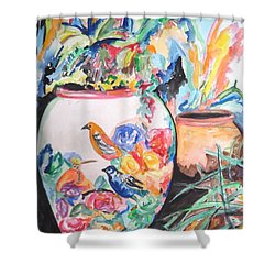 The Bird Flower Pot Shower Curtain by Esther Newman-Cohen