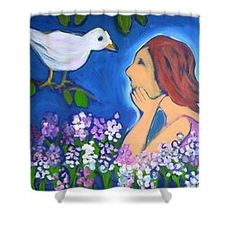 Shower Curtain featuring the painting The Bird by Winsome Gunning