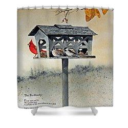 The Birdfeeder Shower Curtain