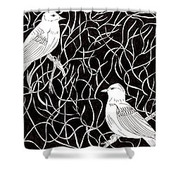 The Birds Shower Curtain by Lou Belcher