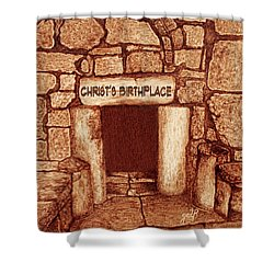 Shower Curtain featuring the painting The Birthplace Of Christ Church Of The Nativity by Georgeta Blanaru